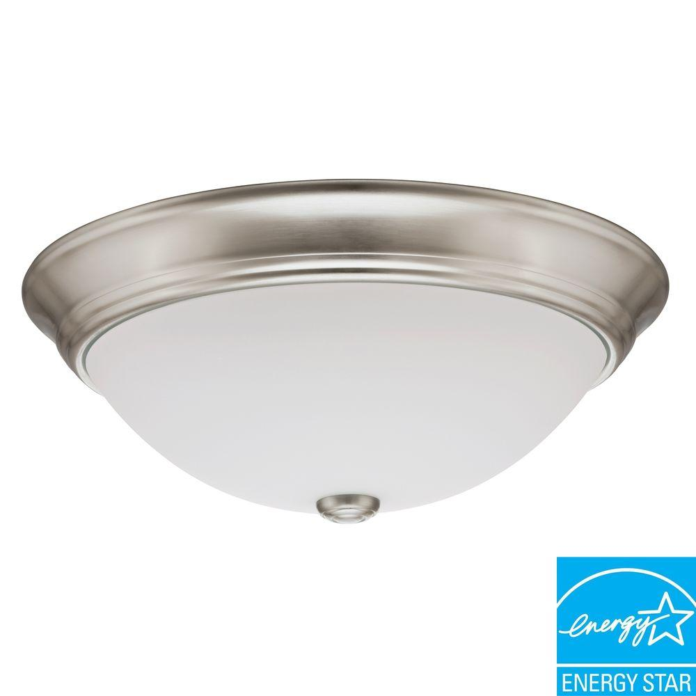 1-Light Nickel Fluorescent Round Ceiling Light