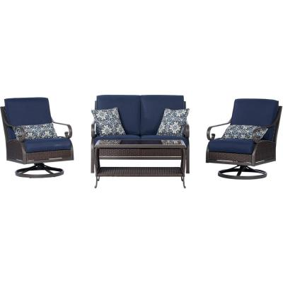 Madrid 4-Piece Wicker Patio Conversation Set with Navy Cushions