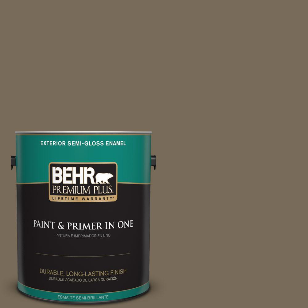 BEHR Premium Plus 1-gal. #730D-6 Coconut Husk Semi-Gloss Enamel Exterior Paint