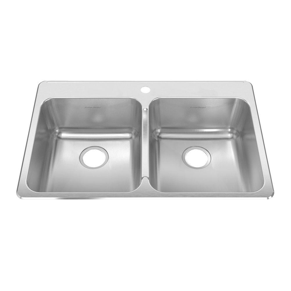 American Standard Prevoir Drop-In Brushed Stainless Steel 33 in. 1-Hole Double Bowl Kitchen Sink