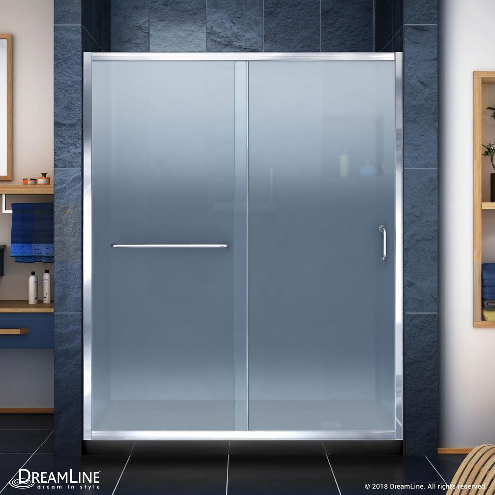 Infinity-Z 32 in. x 60 in. Semi-Frameless Sliding Shower Door in Chrome with Right Drain Shower Base in Black