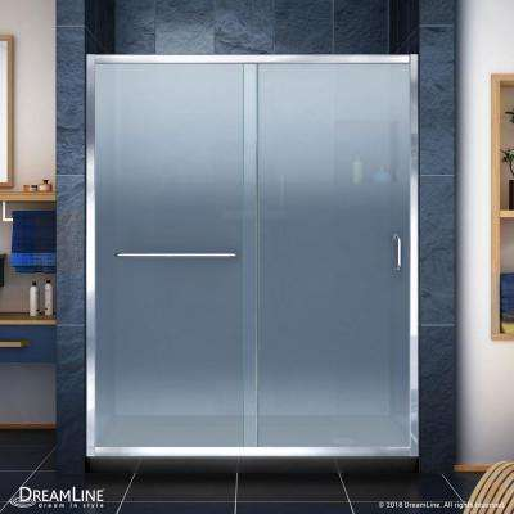 Infinity-Z 36 in. x 60 in. Semi-Frameless Sliding Shower Door in Chrome with Right Drain Shower Base in Black