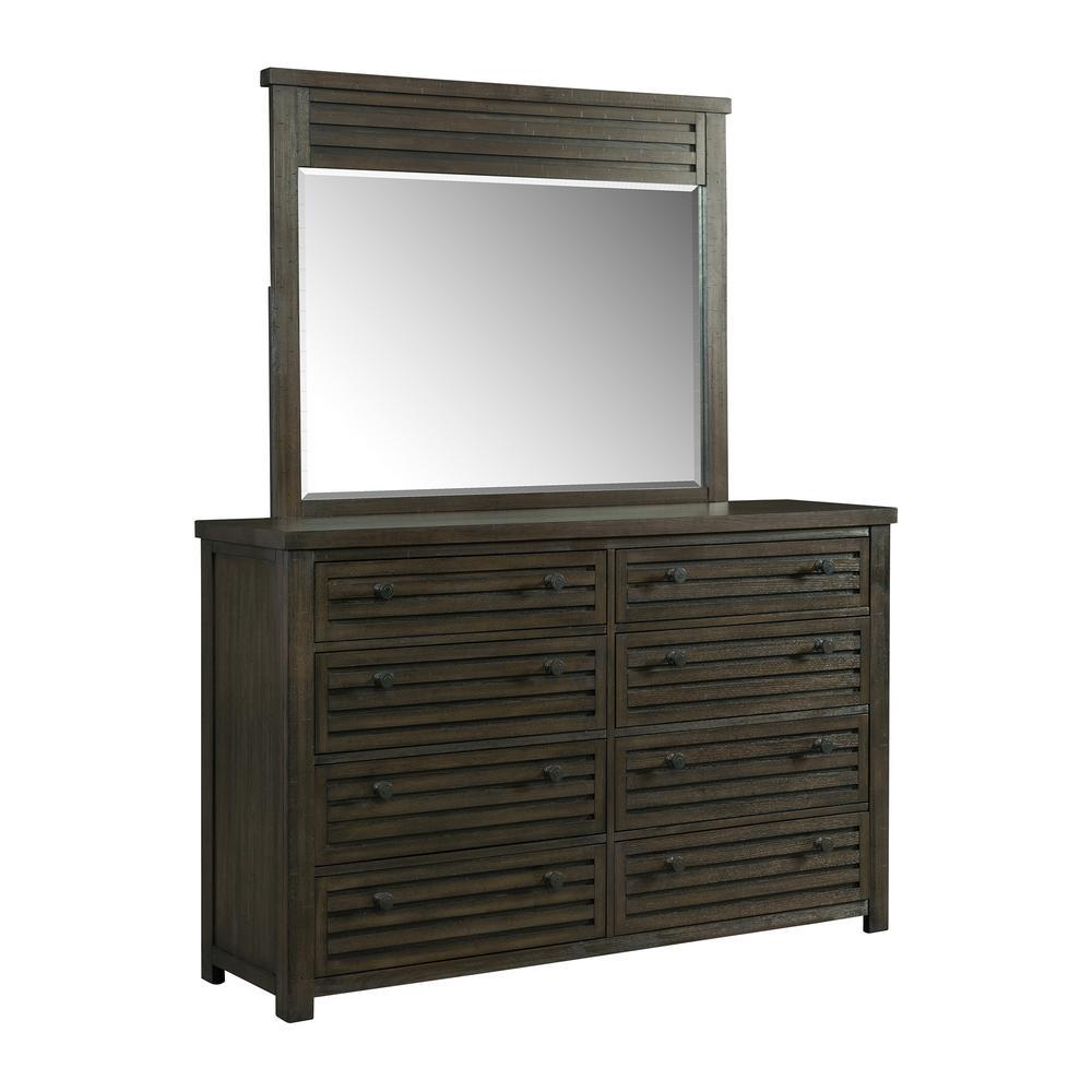 Montego 8-Drawer Dark Walnut Dresser with Mirror