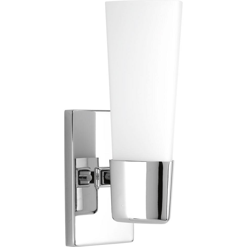 Progress Lighting Zura Collection 1 Light Polished Chrome Bath Sconce With Opal Glass Shade