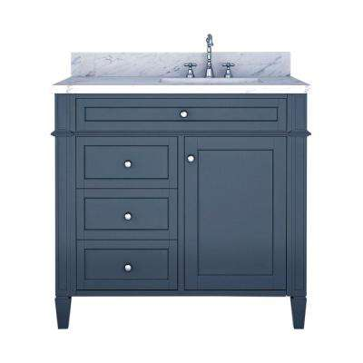 Samantha 36 in. W x 22 in. D Bath Vanity in Gray with Marble Vanity Top in White with White Basin