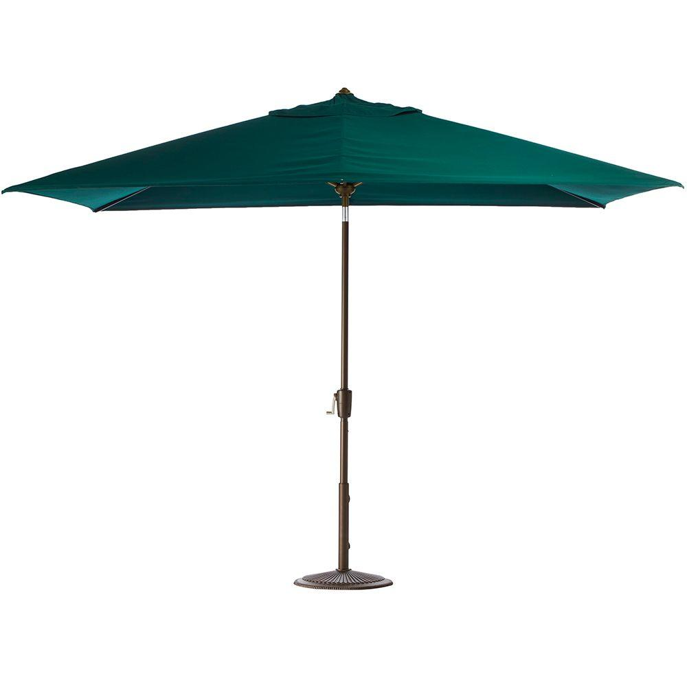 Home Decorators Collection 6.5 ft. x 10 ft. Auto-Tilt Patio Umbrella in Forest Green Sunbrella with Champagne Frame
