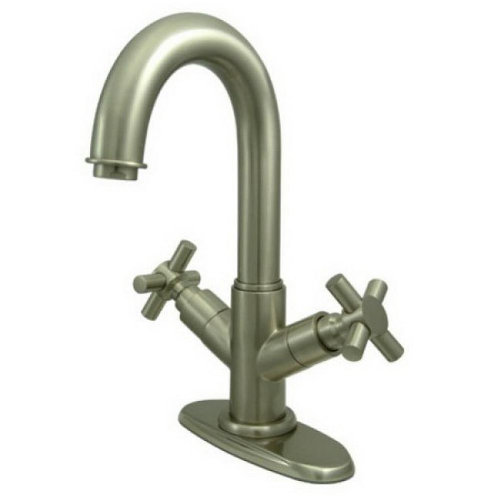 Kingston Brass Euro Single Hole 2 Handle Bathroom Faucet In Satin Nickel Hks8458jx The Home Depot