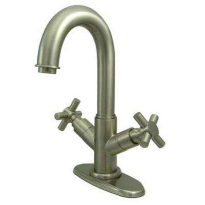Euro Single Hole 2-Handle Bathroom Faucet in Satin Nickel