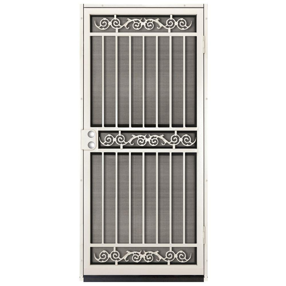 unique home designs 36 in x 80 in sylvan almond surface mount outswing steel security door. Black Bedroom Furniture Sets. Home Design Ideas