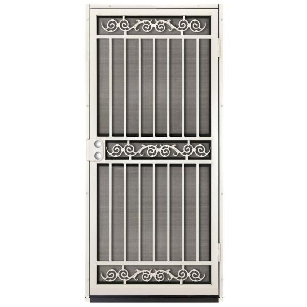 36 in. x 80 in. Sylvan Almond Surface Mount Outswing Steel Security Door with Insect Screen