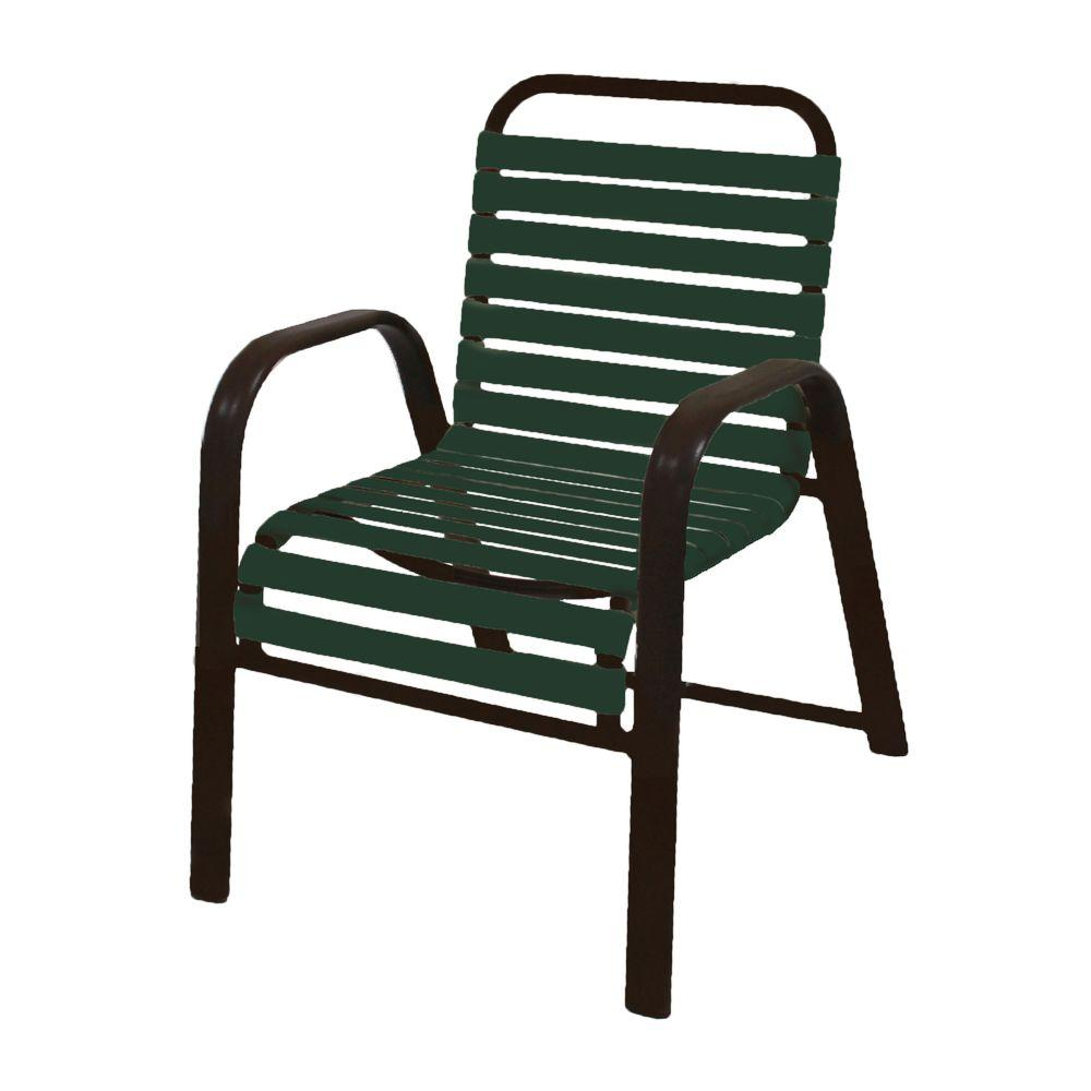 Marco Island Dark Cafe Brown Commercial Grade Aluminum Patio Dining Chair With Green Vinyl Straps