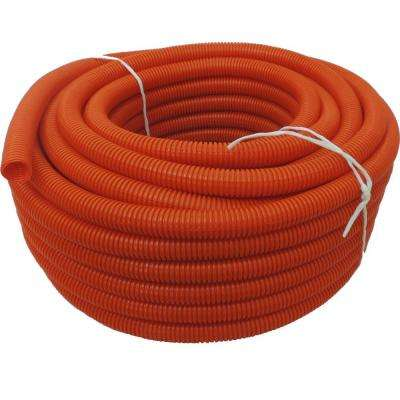 1-1/2 in. Dia. x 100 ft. Orange Flexible Corrugated Polyethylene Non Split Tubing and Convoluted Wire Loom