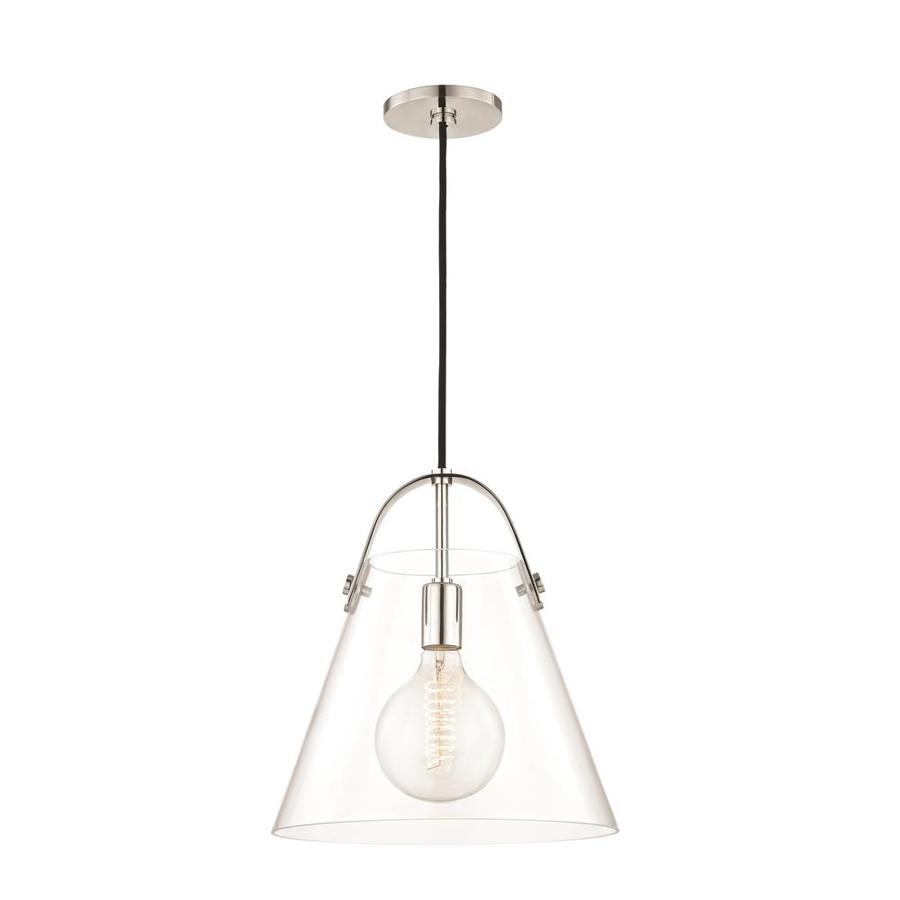 mitzi by hudson valley lighting karin 1 light polished nickel large pendant with clear glass - Hudson Valley Lighting