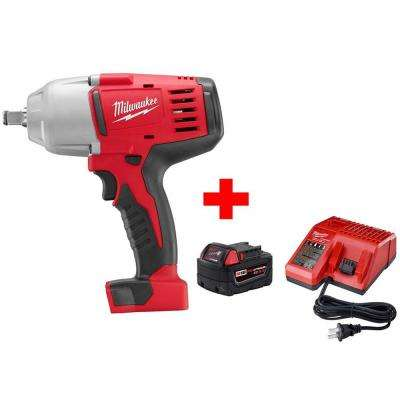 M18 18-Volt Lithium-Ion Cordless 1/2 in. Impact Wrench W/ Friction Ring W/ M18 Starter Kit (1) 5.0Ah Battery and Charger