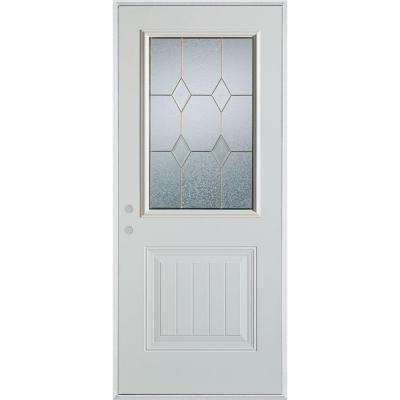 37.375 in. x 82.375 in. Geometric Patina 1/2 Lite 1-Panel Painted White Right-Hand Inswing Steel Prehung Front Door