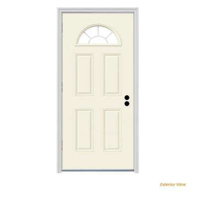 32 in. x 80 in. Fan Lite Vanilla Painted Steel Prehung Right-Hand Outswing Front Door w/Brickmould