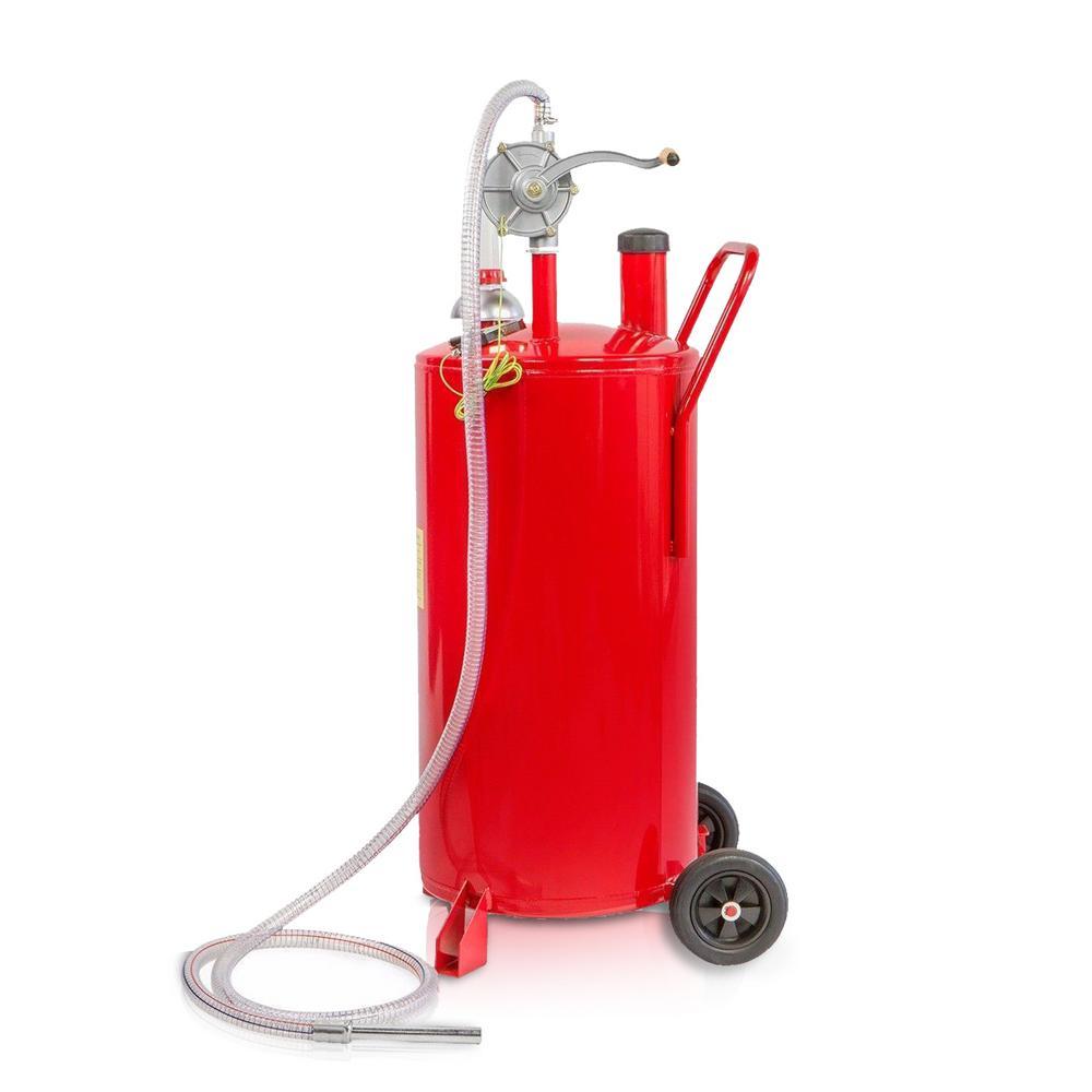 20 Gal. Portable Gas Caddy Fuel Transfer Pump Rolling Gas Can