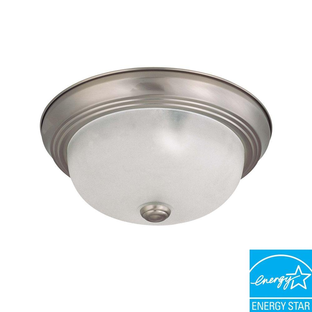 2-Light Flush-Mount Brushed Nickel Dome Fixture