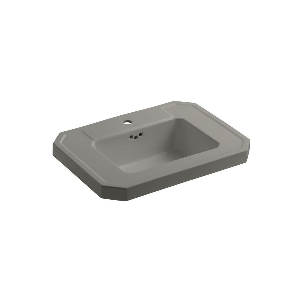 KOHLER Kathryn 4-1/8 in. Ceramic Pedestal Sink Basin in Cashmere with Overflow Drain