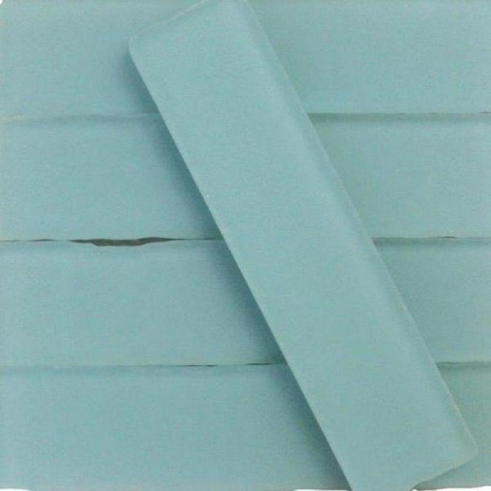 Ivy Hill Tile Ocean Aqua Beached Frosted Gl Subway 2 In X 8 Sample