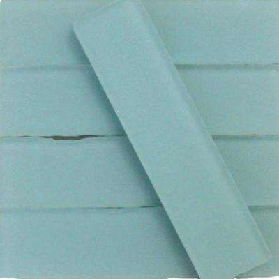 Ocean Aqua Beached Frosted Glass Subway Tile - 2 in. x 8 in. Tile Sample