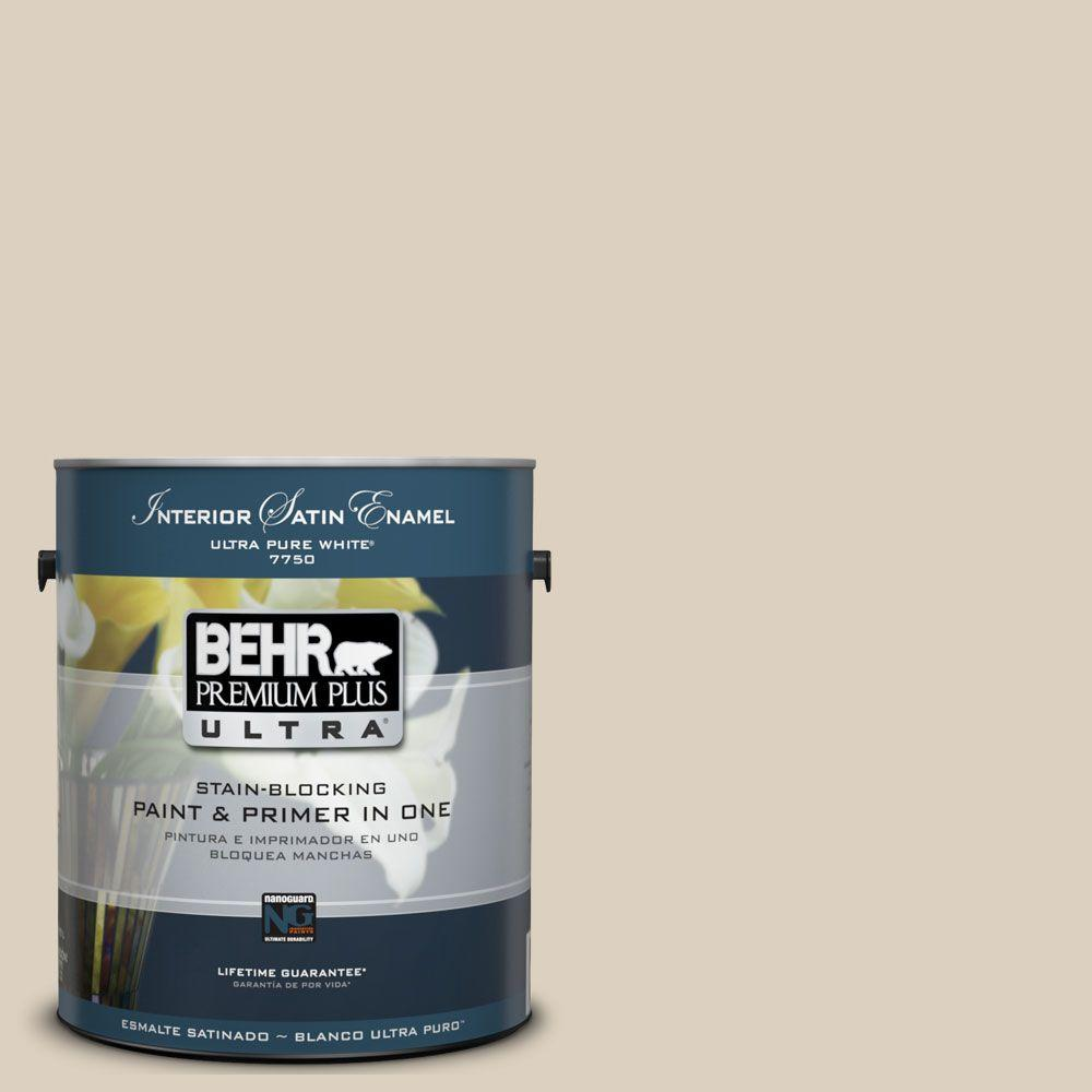 BEHR Premium Plus Ultra 1 gal. #UL170-11 Roman Plaster Satin Enamel Enamel Paint and Primer in One