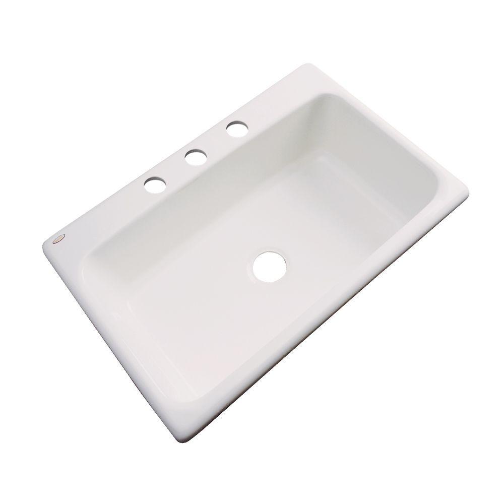 Manhattan Drop-In Acrylic 33 in. 3-Hole Single Bowl Kitchen Sink in