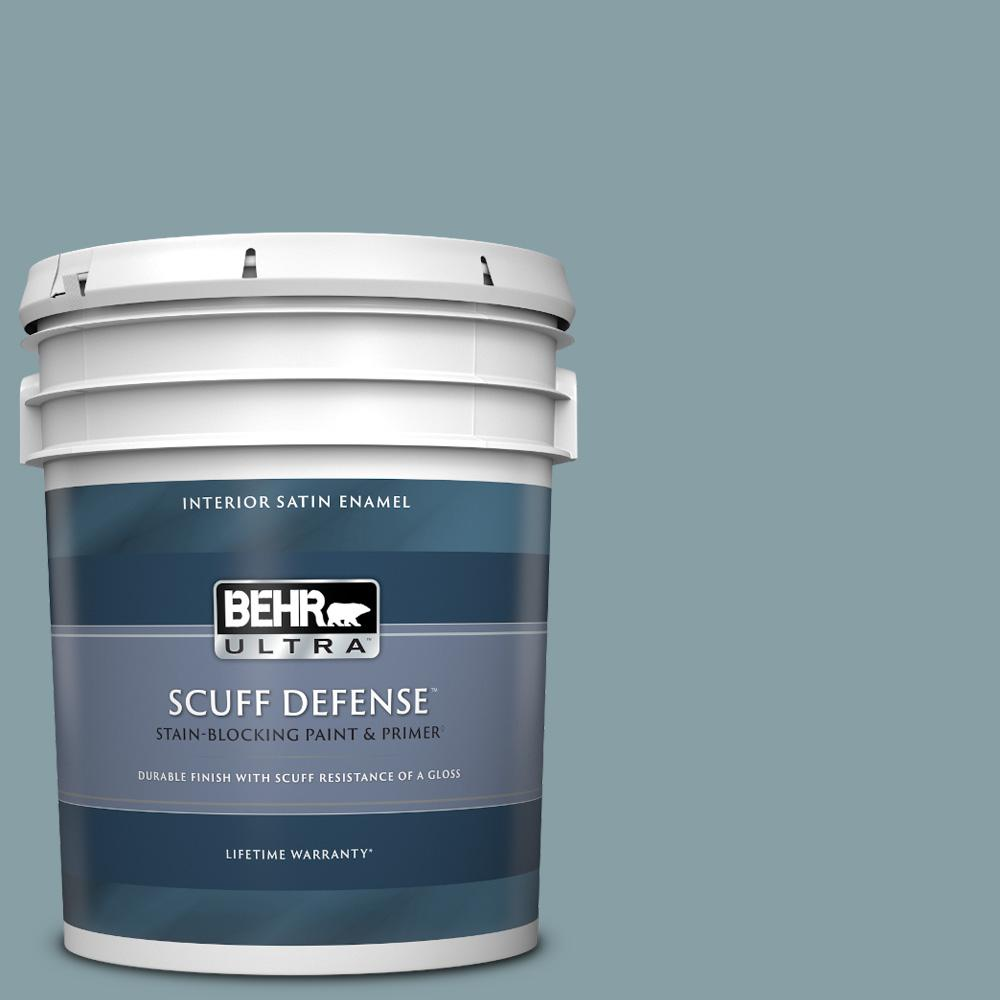 Behr Ultra 5 Gal Bnc 18 Aqua Gray Extra Durable Satin Enamel Interior Paint And Primer In One 775405 The Home Depot