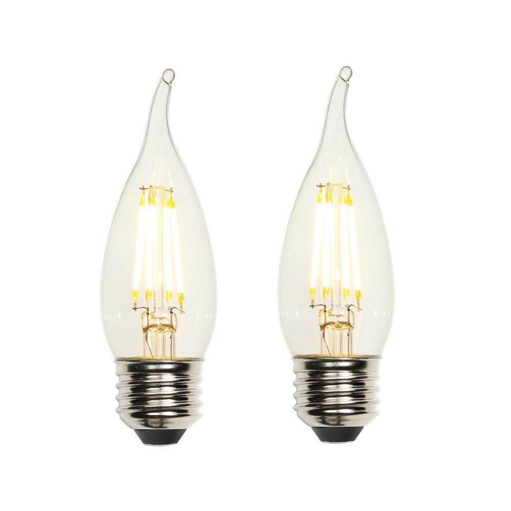 40W Equivalent Clear CA10 Dimmable Filament LED Light Bulb (2-Pack)