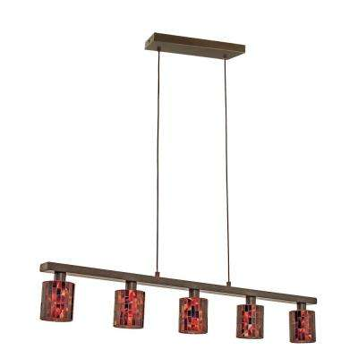 Troya 5-Light Antique Brown Hanging/Ceiling Island Light with Mosaic Glass Shade