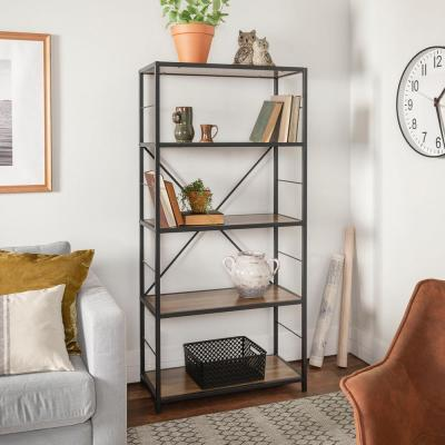 63 in. Rustic Oak/Black Metal 4-shelf Etagere Bookcase with Open Back