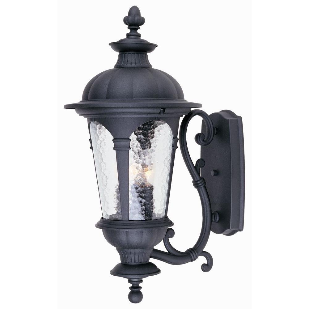 Hampton Bay Renaissance Wall Mount 3 Light Outdoor Black Lamp