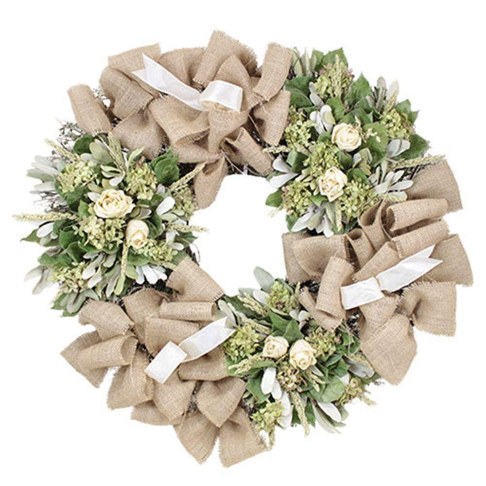 The Christmas Tree Company Roses and Burlap 30 in. Dried Floral Wreath