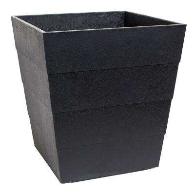 Lineata 11.75 in. x 13 in. Slate Rubber Self-Watering Planter