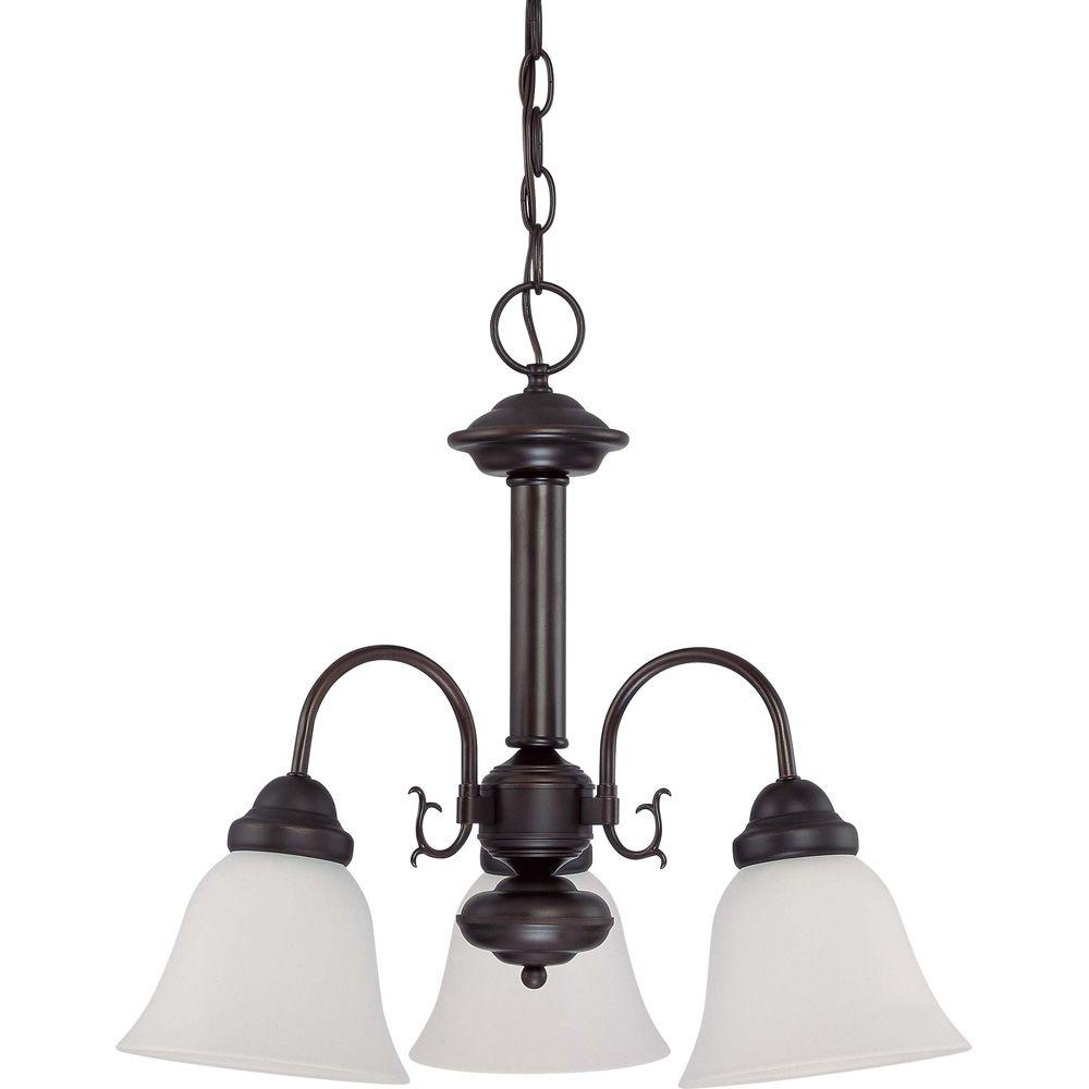 Glomar 3-Light Mahogany Bronze Chandelier with Frosted White Glass Shade