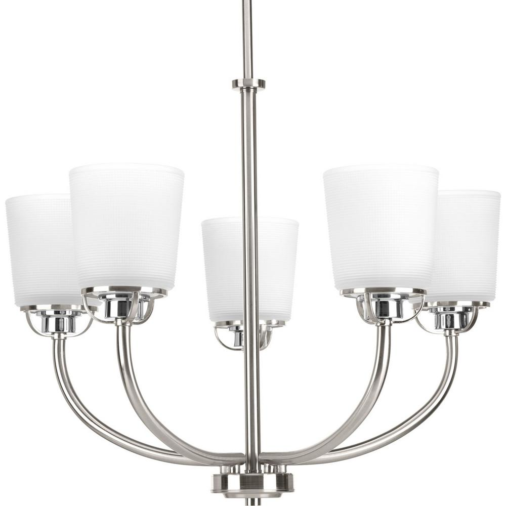 West Village Collection 5-light Brushed Nickel Chandelier with Etched Glass