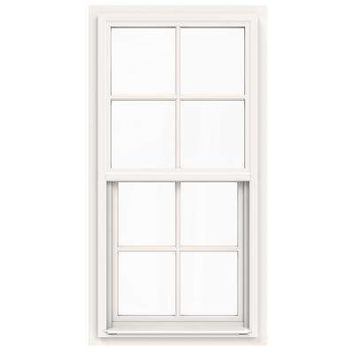 24 in. x 42 in. V-4500 Series White Single-Hung Vinyl Window with 4-Lite Colonial Grids/Grilles