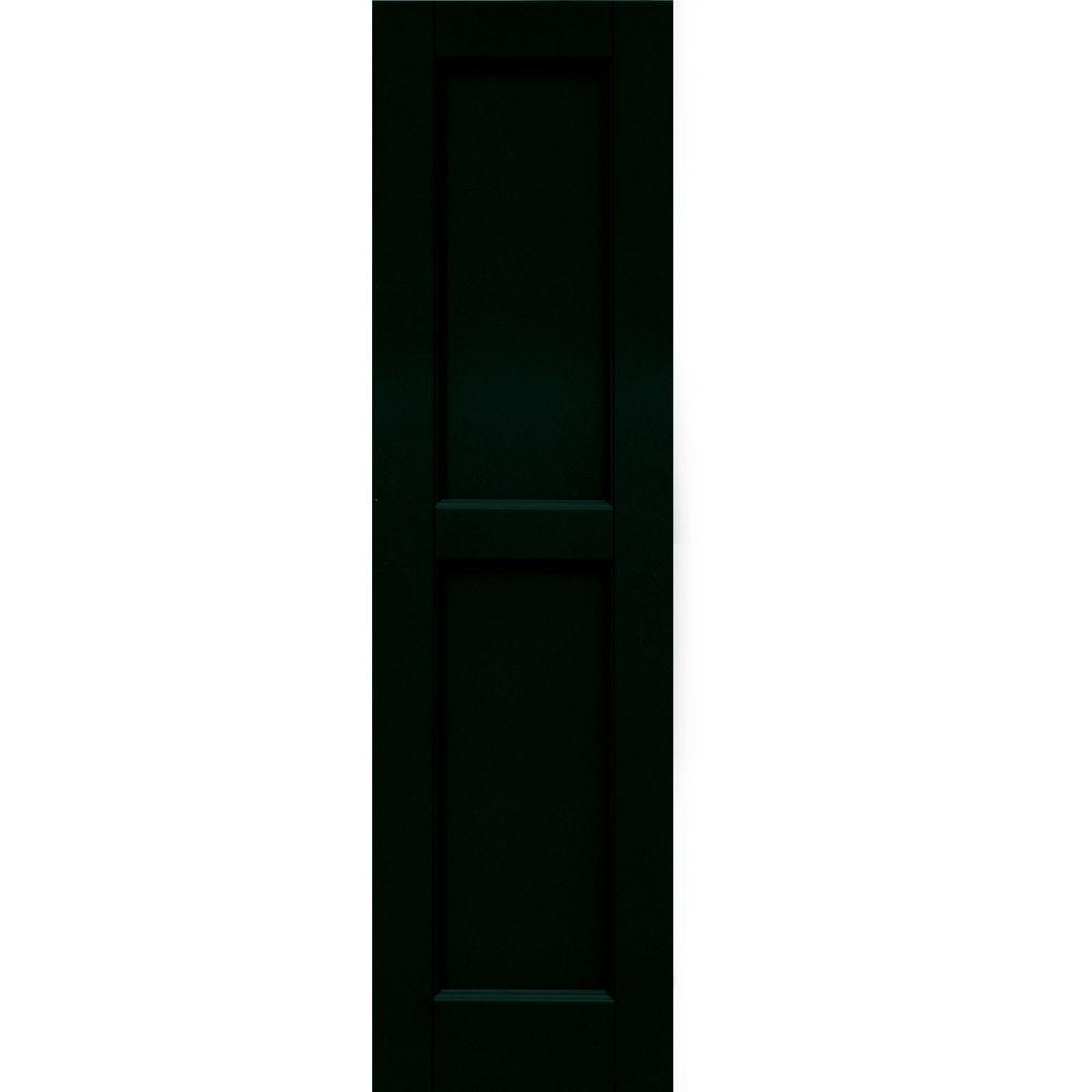Winworks Wood Composite 12 in. x 44 in. Contemporary Flat Panel Shutters Pair #654 Rookwood Shutter Green