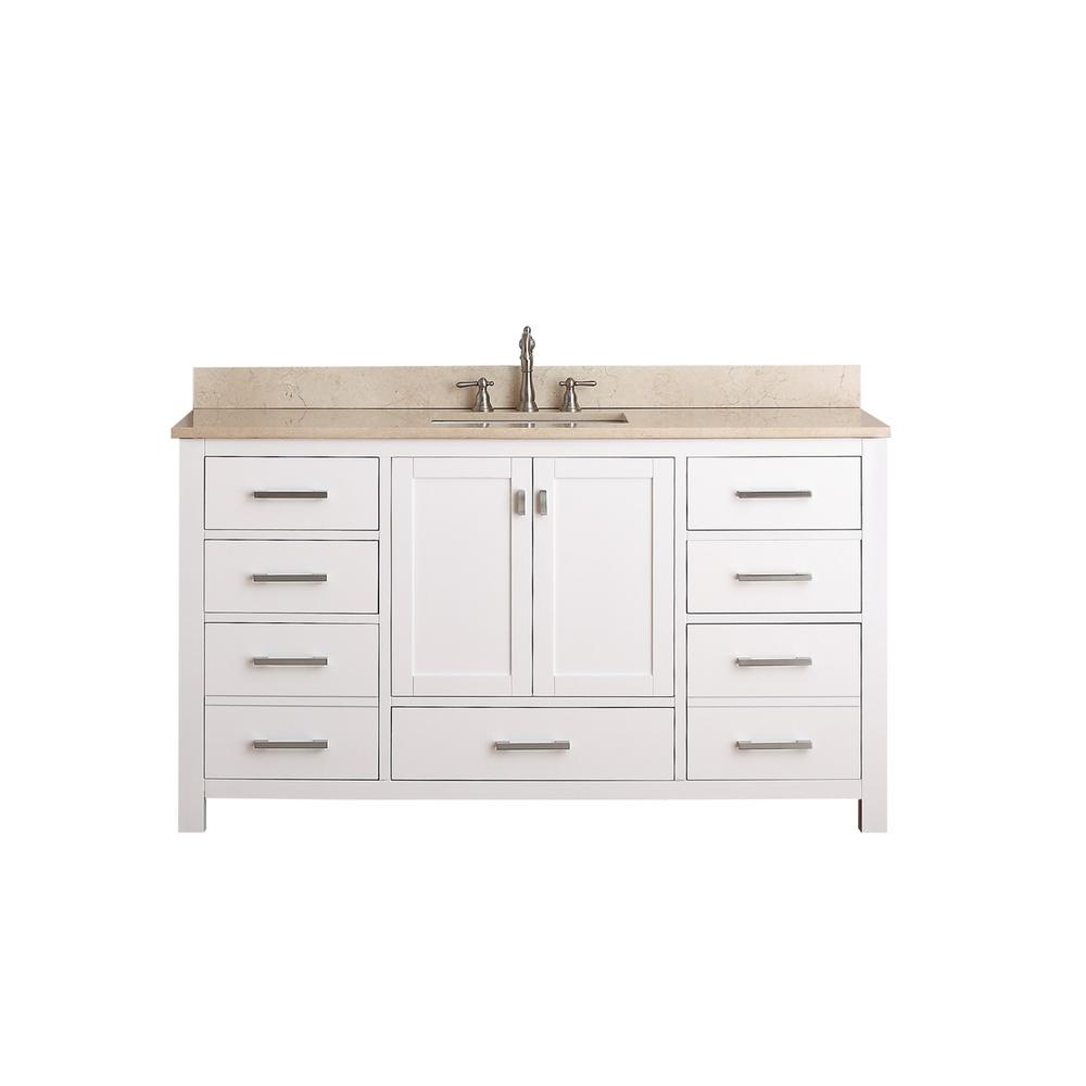 Avanity Modero 61 in. W x 22 in. D x 35 in. H Vanity in White with Marble Vanity Top in Galala Beige and White Basins