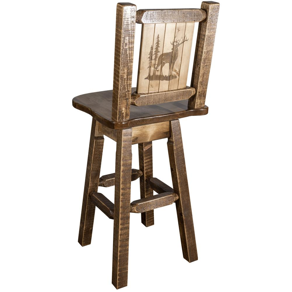 Homestead Collection 30 in. Early American Laser Engraved Elk Motif Bar Stool with Swivel Seat and Back