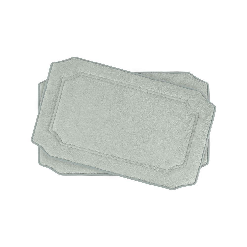 Walden Light Gray 17 in. x 24 in. Memory Foam 2-Piece Bath Mat Set