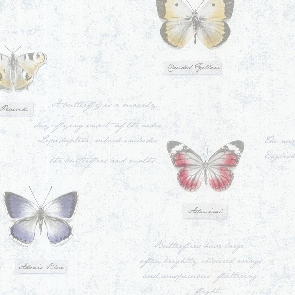 Brewster 56.4 sq. ft. Admiral Blue Butterflies and Script Wallpaper 2532-20454