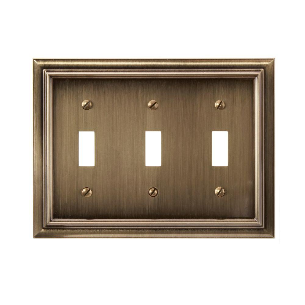 Amerelle Continental 3 Toggle Wall Plate