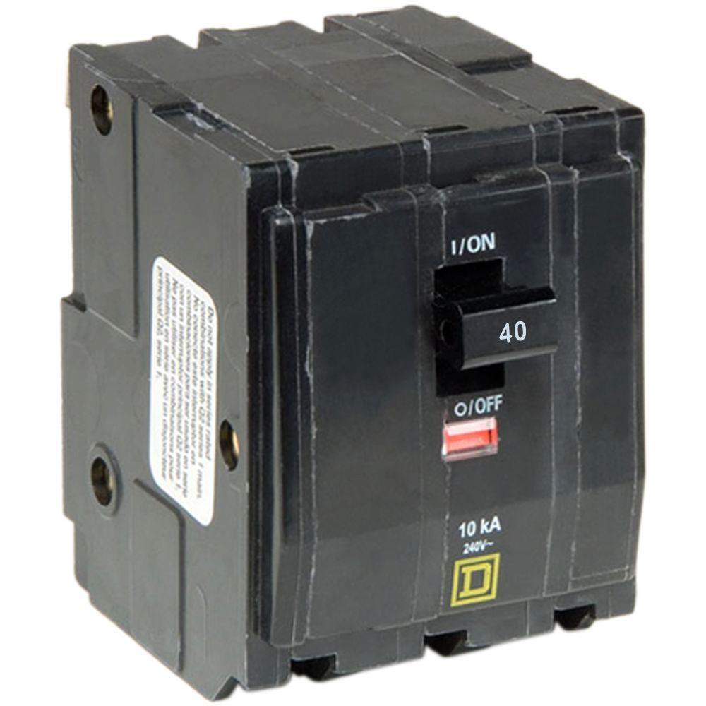 Square D QO 40 Amp 3-Pole Plug-In Circuit Breaker-QO340CP - The Home on