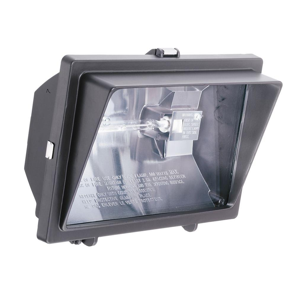 Lithonia Lighting 300-Watt Or 500-Watt Quartz Outdoor Halogen Bronze Visored Floodlight