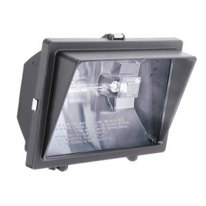 N 300-Watt Or 500-Watt Quartz Outdoor Halogen Bronze Visored Floodlight by N