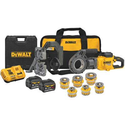 FLEXVOLT 60-Volt MAX Cordless 1/2 in.-2 in. Pipe Threader Kit with Two 9.0 Ah Batteries, Charger, Bag and Die Heads