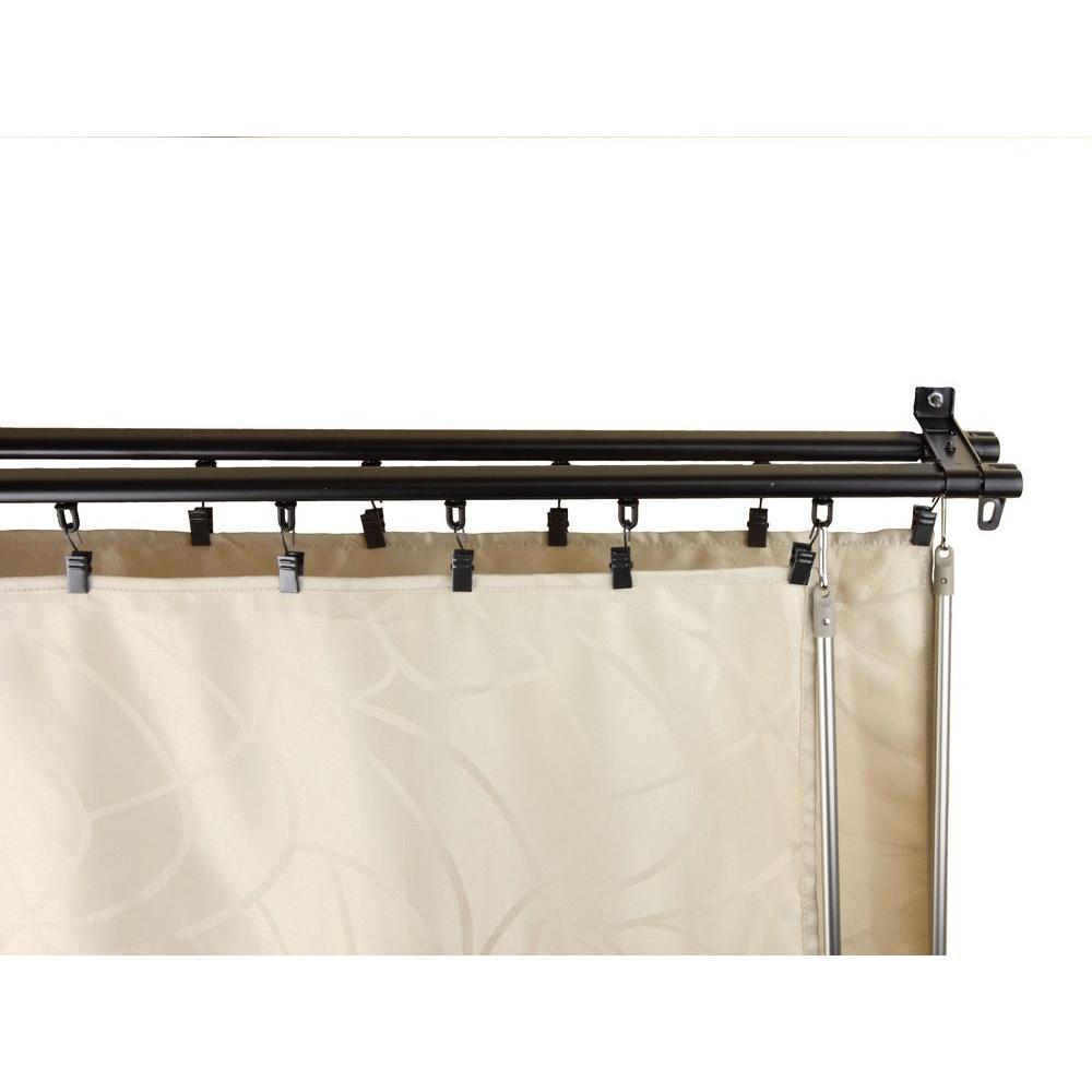 Rod Desyne 66 in. - 120 in. Armor Adjustable Baton Draw Track Double Curtain Rod Set in Black