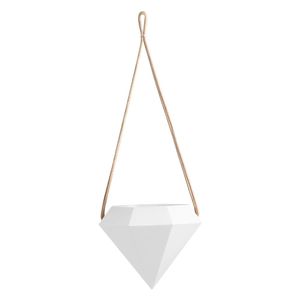 Diamond 4-1/2 in. x 4-1/2 in. Matte White Ceramic Hanging Planter