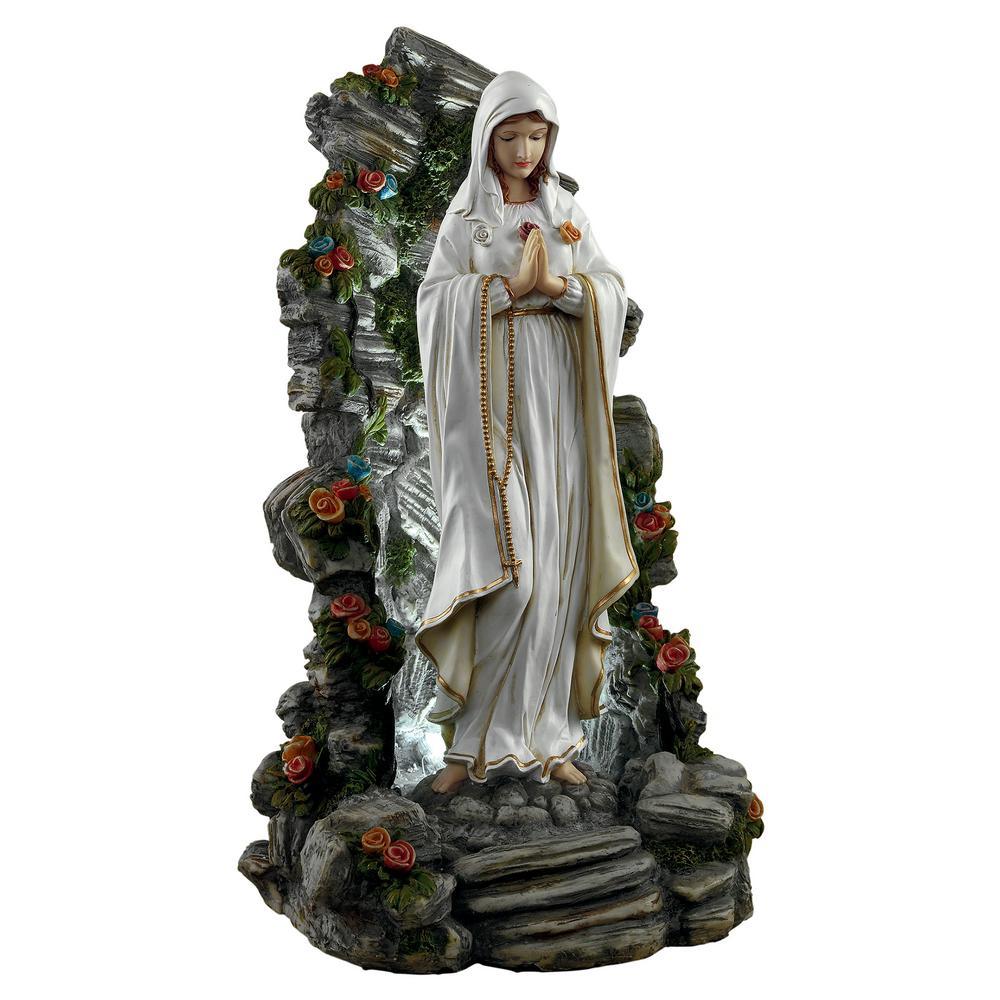 19 in. H Blessed Virgin Mary Illuminated Garden Grotto Sculpture